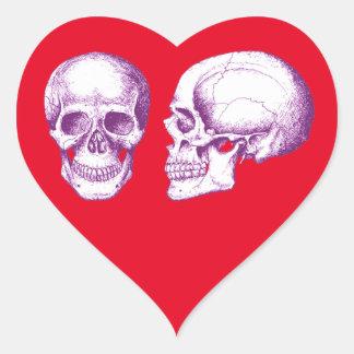 Purple Front Side Human Skull Heart Sticker