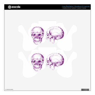 Purple Front Side Human Skull Skins For PS3 Controllers