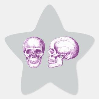 Purple Front Side Human Skull Star Sticker