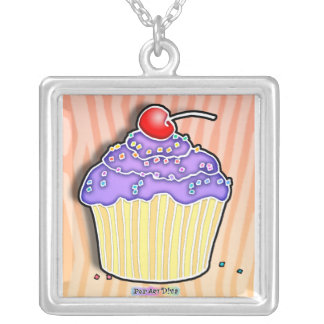 Purple Frosted Cupcake Necklaces