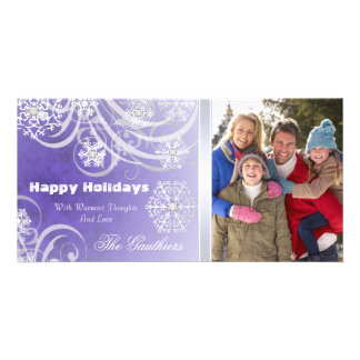 Purple Frosted Flourishes Holiday Photo Card