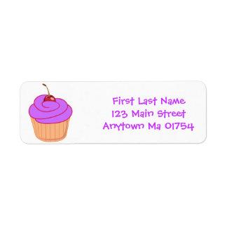 Purple Frosting Cupcake Birthday Address Labels