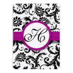 Purple Fuchsia Damask Swirl Wedding Invitations