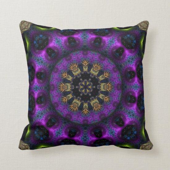 Purple Fuchsia Fractal Mandala Big Cushion