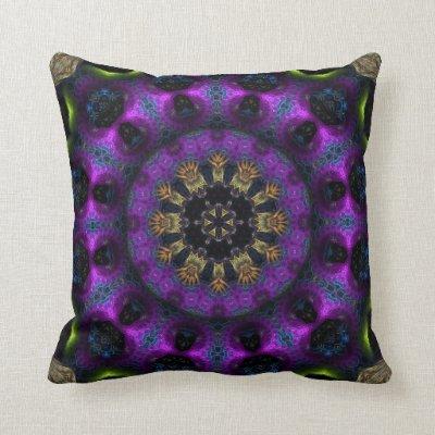 Purple Fuchsia Fractal Mandala Big Cushion Pillows
