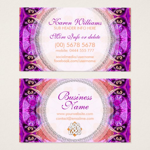 Purple Fuchsia Healing New Age Business Card