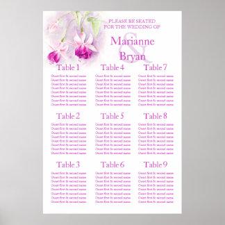 Purple fuchsia Wedding Seating Table Planner 1-9 Poster