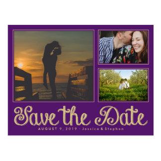 Purple Fun Chalk Save The Date Collage Postcard