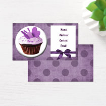 purple fun cupcake business Cards