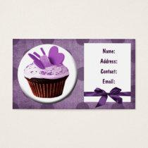 purple fun cupcake business Cards