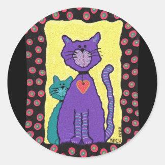 Purple Funky Cat & Kitty - stickers
