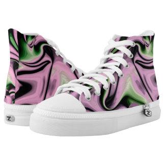Purple Funky Lava Hi Top Printed Shoes