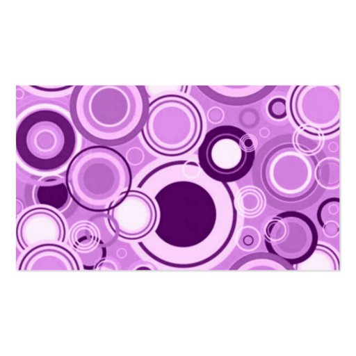 Purple Funky Retro Circles Pattern Double-Sided Standard Business Cards (Pack Of 100)