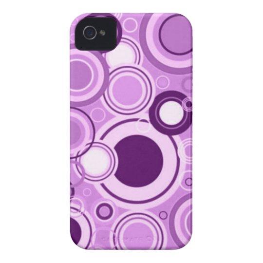 Purple Funky Retro Circles Pattern iPhone 4 Case-Mate Case