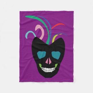Purple Funky Sugar Skull Throw Blanket Fleecy