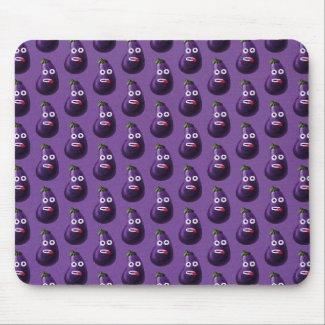 Purple Funny Cartoon Eggplant Pattern Mouse Pad