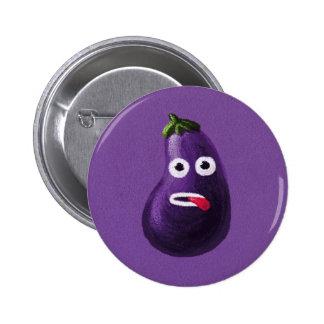 Purple Funny Cartoon Eggplant Pinback Button
