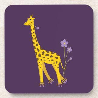 Purple Funny Giraffe Roller Skating Drink Coaster