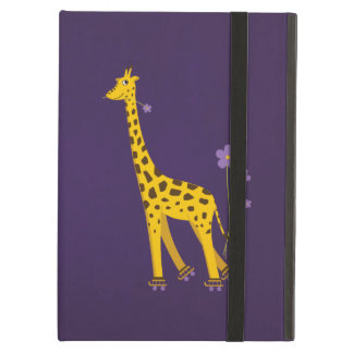 Purple Funny Giraffe Roller Skating Kickstand iPad Air Cases