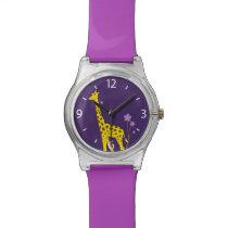 Purple Funny Giraffe Roller Skating Kids Wrist Watch