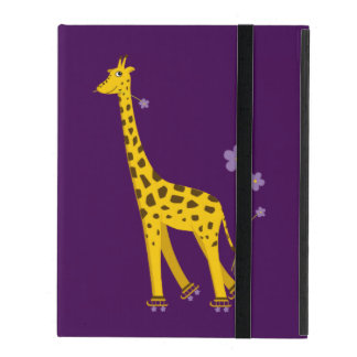 Purple Funny Giraffe Roller Skating Strap Folio iPad Cases