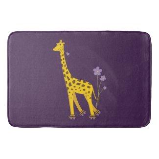 Purple Funny Roller Skating Giraffe Bath Mats