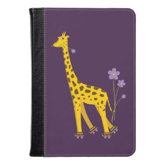 Purple Funny Roller Skating Giraffe Kindle Case