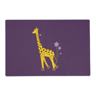 Purple Funny Roller Skating Giraffe Laminated Placemat