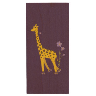 Purple Funny Roller Skating Giraffe Wood Flash Drive