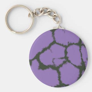 Purple Fur Giraffe Pattern Basic Round Button Keychain