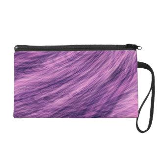 Purple Fur Look Wristlet Purse