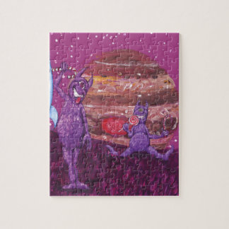 Purple Furry Cyclops over Jupiter Jigsaw Puzzle