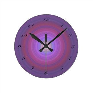 Purple Fuschia Bullseye clock black script numbers