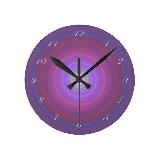 Purple Fuschia Bullseye clock white script numbers