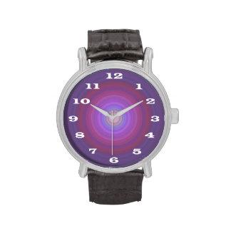 Purple Fuschia Bullseye with Bold white numbers Watch