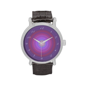 Purple Fuschia Bullseye with script white numbers Watches