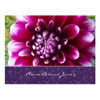 Purple Fuschia Dahlia Save the Date Postcard