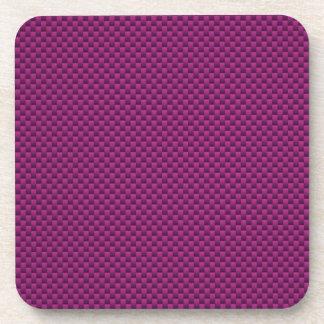 Purple Fushia Carbon Fiber Print Drink Coasters