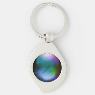 Purple Fusion Silver-Colored Swirl Metal Keychain