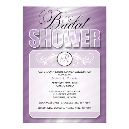 Purple Fusion Zebra Print Bridal Shower Invitation from Zazzle.com
