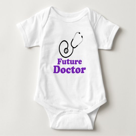 Purple Future Doctor Stethoscope Baby Bodysuit