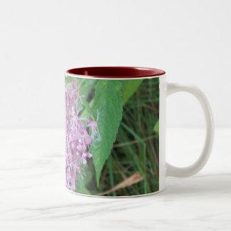 Purple fuzzy wild flowers Two-Tone coffee mug