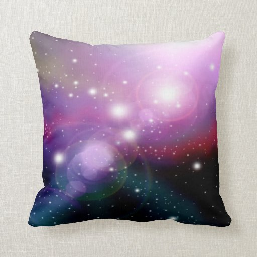 Purple Decorative Bedroom Pillows : Purple Galaxy Throw Pillow for Space Theme Rooms - Purple Bedroom Ideas