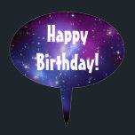 """Purple Galaxy Cluster Cake Pick<br><div class=""""desc"""">Galaxy Cluster MACS J0717 thanks to NASA and Hubble program. You can delete the text message,  or you can change the wording,  font style,  font size,  or even font color.</div>"""