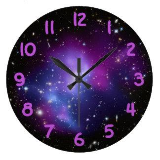 Purple Galaxy Cluster Large Clock
