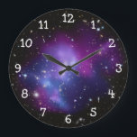 """Purple Galaxy Cluster Large Clock<br><div class=""""desc"""">White numbers on a clock face against a space image featuring: Galaxy Cluster MACS J0717 thanks to NASA and Hubble program.</div>"""