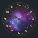 "Purple Galaxy Cluster Large Clock<br><div class=""desc"">White numbers on a clock face against a space image featuring: Galaxy Cluster MACS J0717 thanks to NASA and Hubble program.</div>"