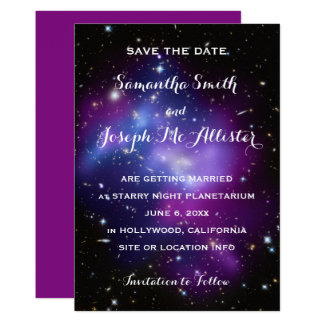 Purple Galaxy Cluster Save the Date Card