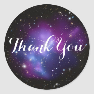 Purple Galaxy Cluster Thank You Classic Round Sticker