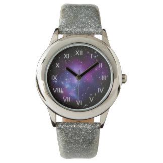 Purple Galaxy Cluster Wristwatch